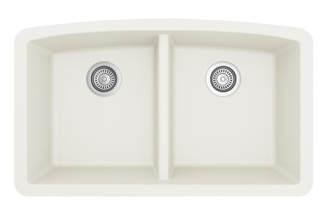 "Karran 33"" Quartz Kitchen Sink, 50/50 Double Bowl, White, QU-710-WH"