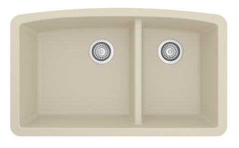 "Karran 33"" Quartz Kitchen Sink, 60/40 Double Bowl, Bisque, QU-711-BI"