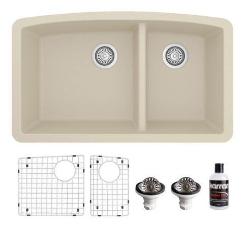 "Karran 32"" Undermount Quartz Composite Kitchen Sink, 60/40 Double Bowl, Bisque, QU-711-BI-PK1"