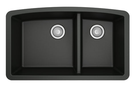 "Karran 33"" Quartz Kitchen Sink, 60/40 Double Bowl, Black, QU-711-BL"