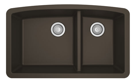 "Karran 33"" Quartz Kitchen Sink, 60/40 Double Bowl, Brown, QU-711-BR"