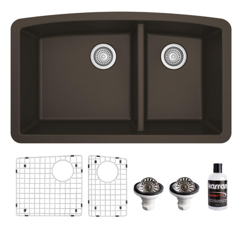 "Karran 32"" Undermount Quartz Composite Kitchen Sink, 60/40 Double Bowl, Brown, QU-711-BR-PK1"