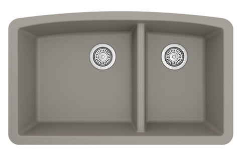 "Karran 33"" Quartz Kitchen Sink, 60/40 Double Bowl, Concrete, QU-711-CN"