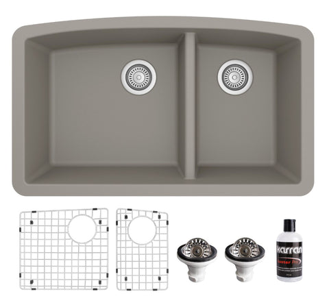 "Karran 32"" Undermount Quartz Composite Kitchen Sink, 60/40 Double Bowl, Concrete, QU-711-CN-PK1"