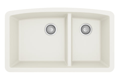 "Karran 33"" Quartz Kitchen Sink, 60/40 Double Bowl, White, QU-711-WH"