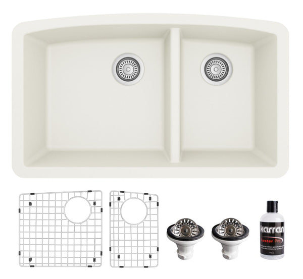 "Karran 32"" Undermount Quartz Composite Kitchen Sink, 60/40 Double Bowl, White, QU-711-WH-PK1"