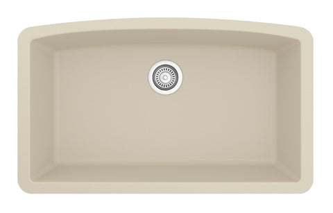 "Karran 33"" Quartz Kitchen Sink, Bisque, QU-712-BI"