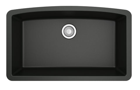 "Karran 33"" Quartz Kitchen Sink, Black, QU-712-BL"