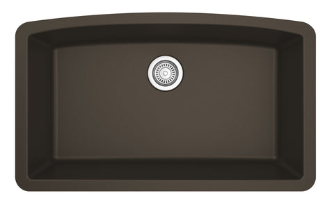 "Karran 33"" Quartz Kitchen Sink, Brown, QU-712-BR"