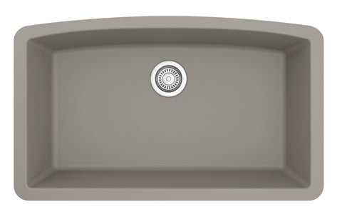 "Karran 33"" Quartz Kitchen Sink, Concrete, QU-712-CN"
