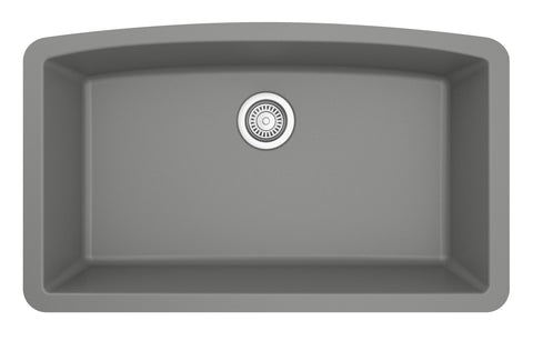 "Karran 33"" Quartz Kitchen Sink, Grey, QU-712-GR"