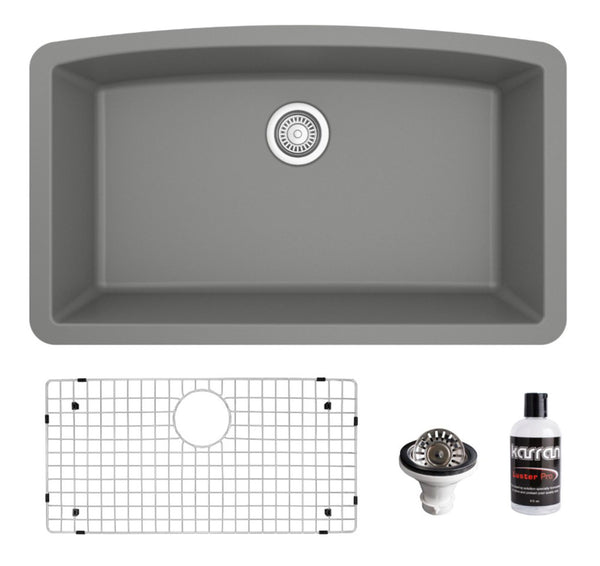 "Karran 32"" Undermount Quartz Composite Kitchen Sink, Grey, QU-712-GR-PK1"