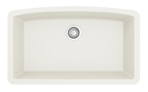 "Karran 33"" Quartz Kitchen Sink, White, QU-712-WH"