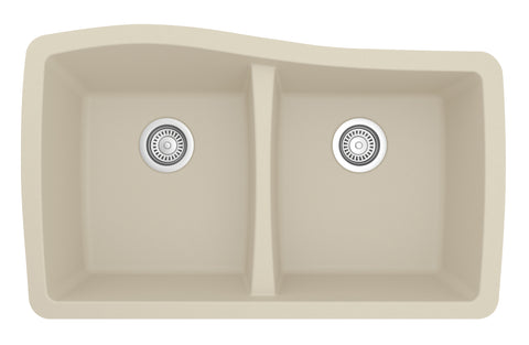 "Karran 34"" Quartz Kitchen Sink, 50/50 Double Bowl, Bisque, QU-720-BI"