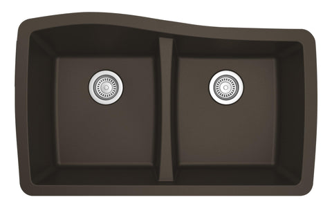 "Karran 34"" Quartz Kitchen Sink, 50/50 Double Bowl, Brown, QU-720-BR"