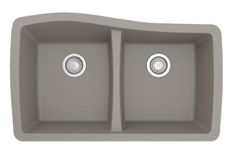 "Karran 34"" Quartz Kitchen Sink, 50/50 Double Bowl, Concrete, QU-720-CN"