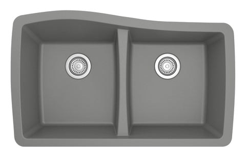 "Karran 34"" Quartz Kitchen Sink, 50/50 Double Bowl, Grey, QU-720-GR"