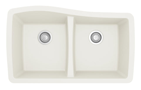 "Karran 34"" Quartz Kitchen Sink, 50/50 Double Bowl, White, QU-720-WH"
