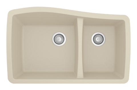 "Karran 34"" Quartz Kitchen Sink, 60/40 Double Bowl, Bisque, QU-721-BI"
