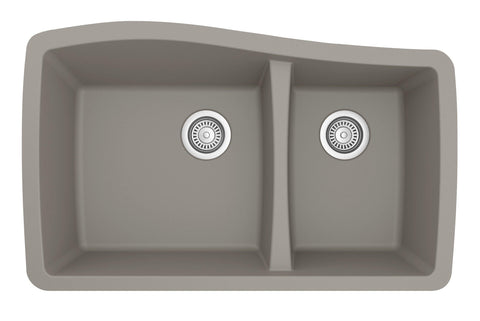 "Karran 34"" Quartz Kitchen Sink, 60/40 Double Bowl, Concrete, QU-721-CN"