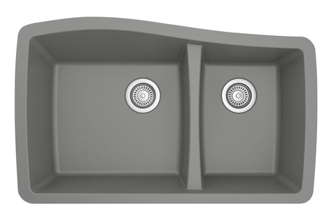 "Karran 34"" Quartz Kitchen Sink, 60/40 Double Bowl, Grey, QU-721-GR"