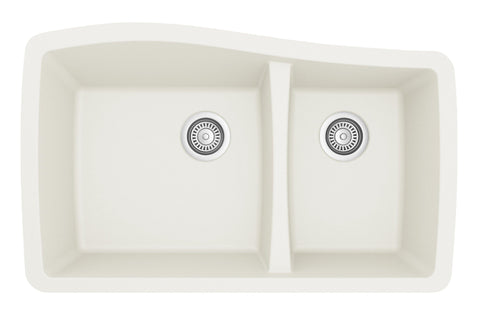 "Karran 34"" Quartz Kitchen Sink, 60/40 Double Bowl, White, QU-721-WH"
