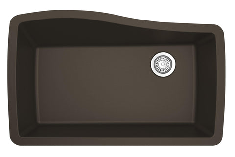 "Karran 34"" Quartz Kitchen Sink, Brown, QU-722-BR"