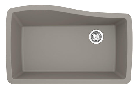 "Karran 34"" Quartz Kitchen Sink, Concrete, QU-722-CN"