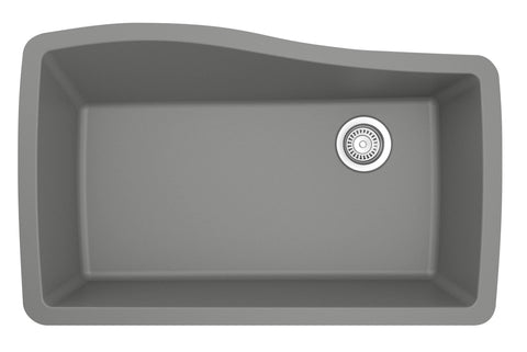"Karran 34"" Quartz Kitchen Sink, Grey, QU-722-GR"