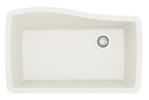 "Karran 34"" Quartz Kitchen Sink, White, QU-722-WH"