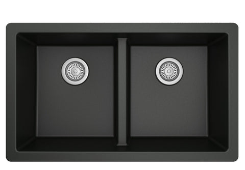 "Karran 32"" Undermount Quartz Composite Kitchen Sink, 50/50 Double Bowl, Black, QU-810-BL"