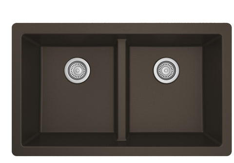 "Karran 32"" Undermount Quartz Composite Kitchen Sink, 50/50 Double Bowl, Brown, QU-810-BR"