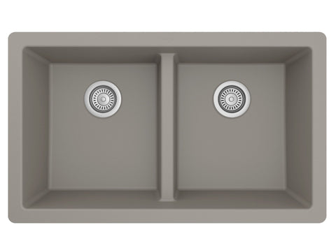 "Karran 32"" Undermount Quartz Composite Kitchen Sink, 50/50 Double Bowl, Concrete, QU-810-CN"