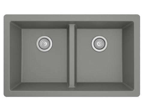"Karran 32"" Undermount Quartz Composite Kitchen Sink, 50/50 Double Bowl, Grey, QU-810-GR"