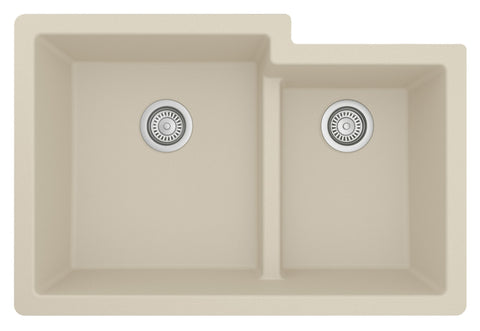 "Karran 32"" Undermount Quartz Composite Kitchen Sink, 60/40 Double Bowl, Bisque, QU-811-BI"