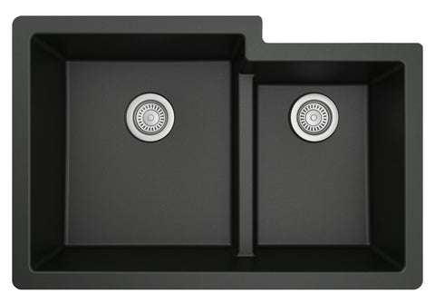 "Karran 32"" Undermount Quartz Composite Kitchen Sink, 60/40 Double Bowl, Black, QU-811-BL"