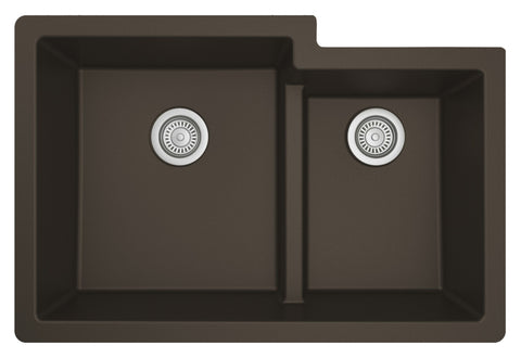 "Karran 32"" Undermount Quartz Composite Kitchen Sink, 60/40 Double Bowl, Brown, QU-811-BR"