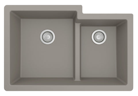 "Karran 32"" Undermount Quartz Composite Kitchen Sink, 60/40 Double Bowl, Concrete, QU-811-CN"