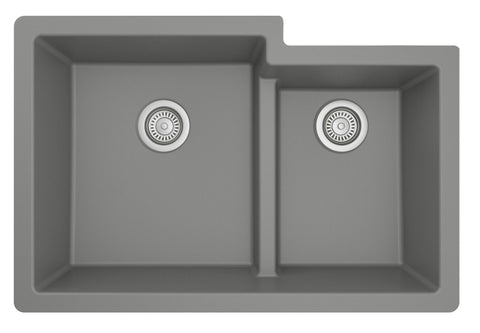 "Karran 32"" Undermount Quartz Composite Kitchen Sink, 60/40 Double Bowl, Grey, QU-811-GR"