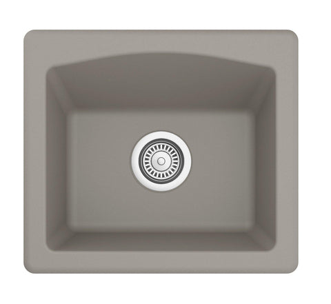 "Karran 18"" Quartz Bar/Prep Sink, Concrete, QX-680-CN"