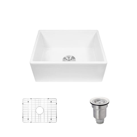 "Rene 24"" Fireclay Farmhouse Sink, White, R10-3004-ST-B"