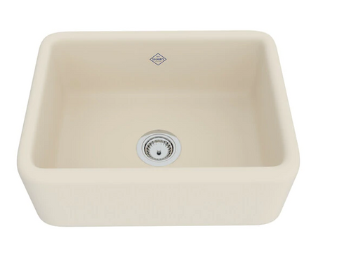 "Rohl Shaws 24"" Fireclay Single Bowl Farmhouse Apron Kitchen Sink, Parchment, RC2418PCT"