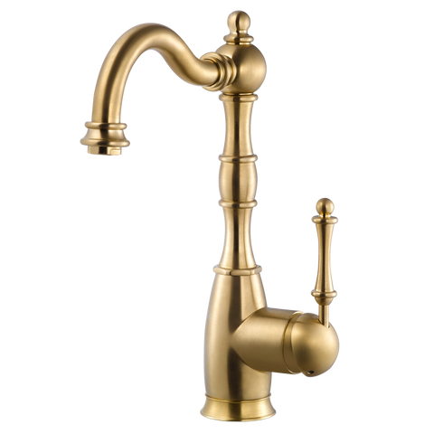 Houzer Regal Solid Brass Bar Faucet Brushed Brass, REGBA-160-BB