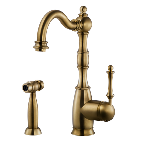 Houzer Regal Solid Brass Kitchen Faucet with Sidespray Antique Brass, REGSS-181-AB