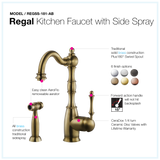 Houzer Regal Solid Brass Kitchen Faucet with Sidespray Antique Brass, REGSS-181-AB - The Sink Boutique