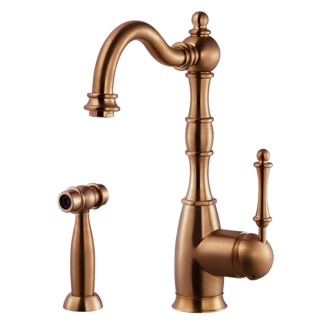 Houzer Regal Solid Brass Kitchen Faucet with Sidespray Antique Copper, REGSS-181-AC