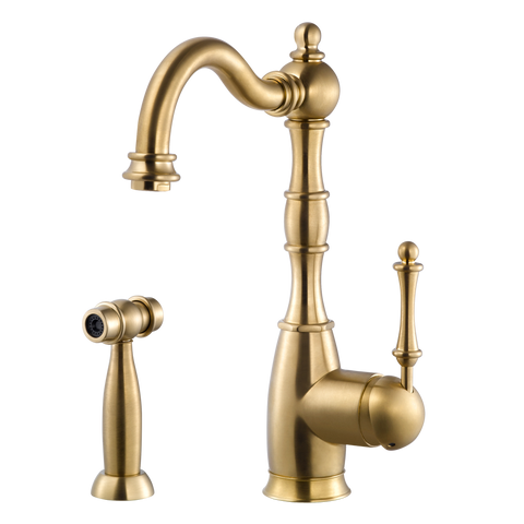 Houzer Regal Solid Brass Kitchen Faucet with Sidespray Brushed Brass, REGSS-181-BB