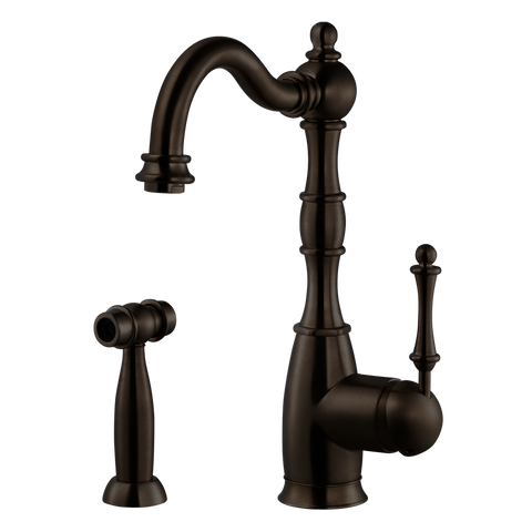 Houzer Regal Solid Brass Kitchen Faucet with Sidespray Oil Rubbed Bronze, REGSS-181-OB