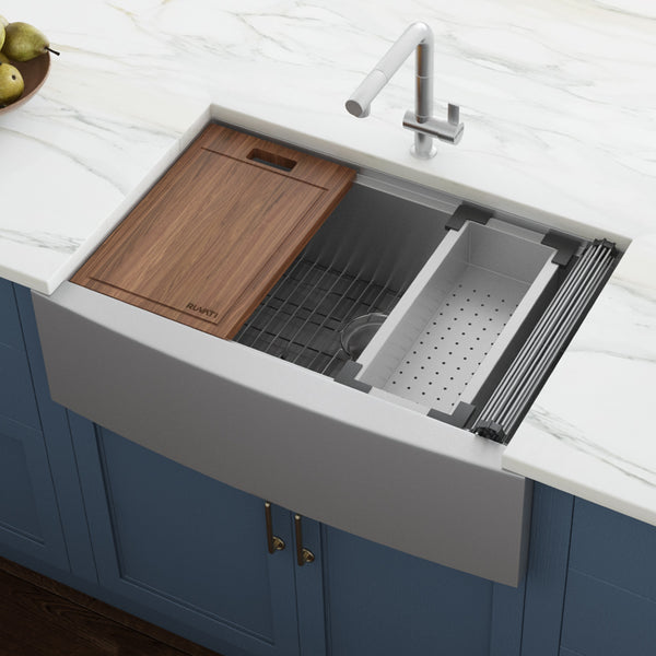 "Ruvati Verona 36"" Stainless Steel Workstation Farmhouse Sink, 16 Gauge, RVH9300"
