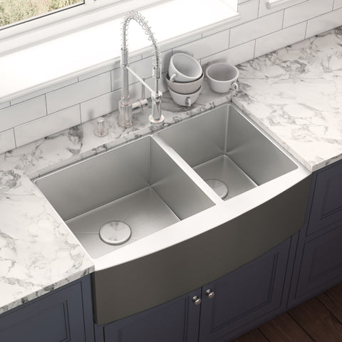 "Ruvati Madera 33"" Stainless Steel Farmhouse Sink, 60/40 Double Bowl, 16 Gauge, RVH9542"